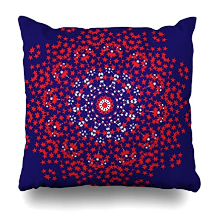 Amazon Decorative Pillow Cover 40X40 Two Sides Printed Navy Amazing Red Round Decorative Pillows