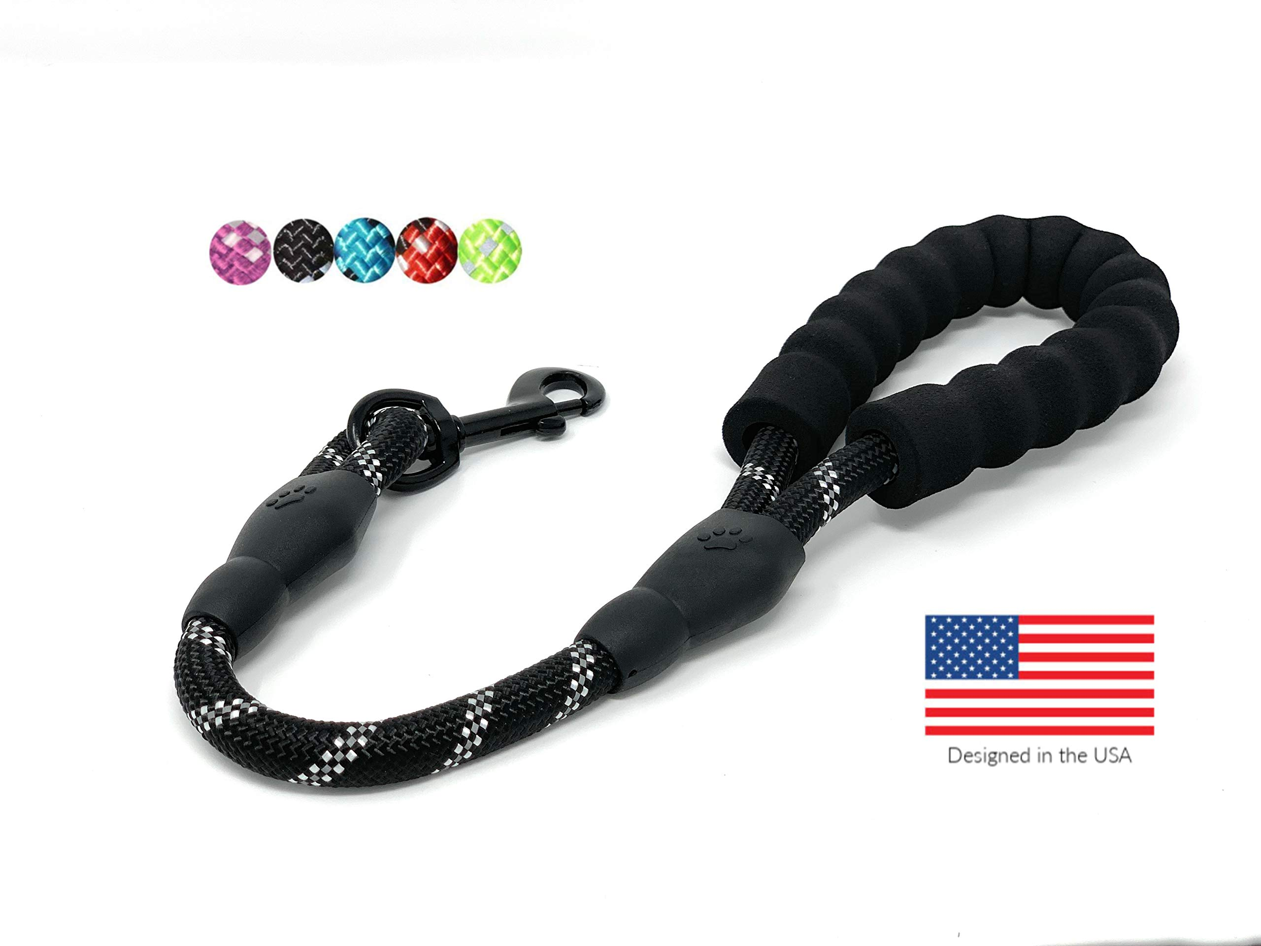 STJ Company Short Training Leash for Dogs | Teach Them to Walk Without Pulling | 18'' Rock Climbing Rope with Swivel Metal Snap-Bolt | Take Your Pup Near Traffic and Crowds (Black)