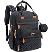 Diaper Bag Backpack, BabbleRoo Baby Nappy Changing Bags Multifunction Waterproof Travel Back Pack with Changing Pad & Stroller Straps & Pacifier Case, Unisex and Stylish (black)