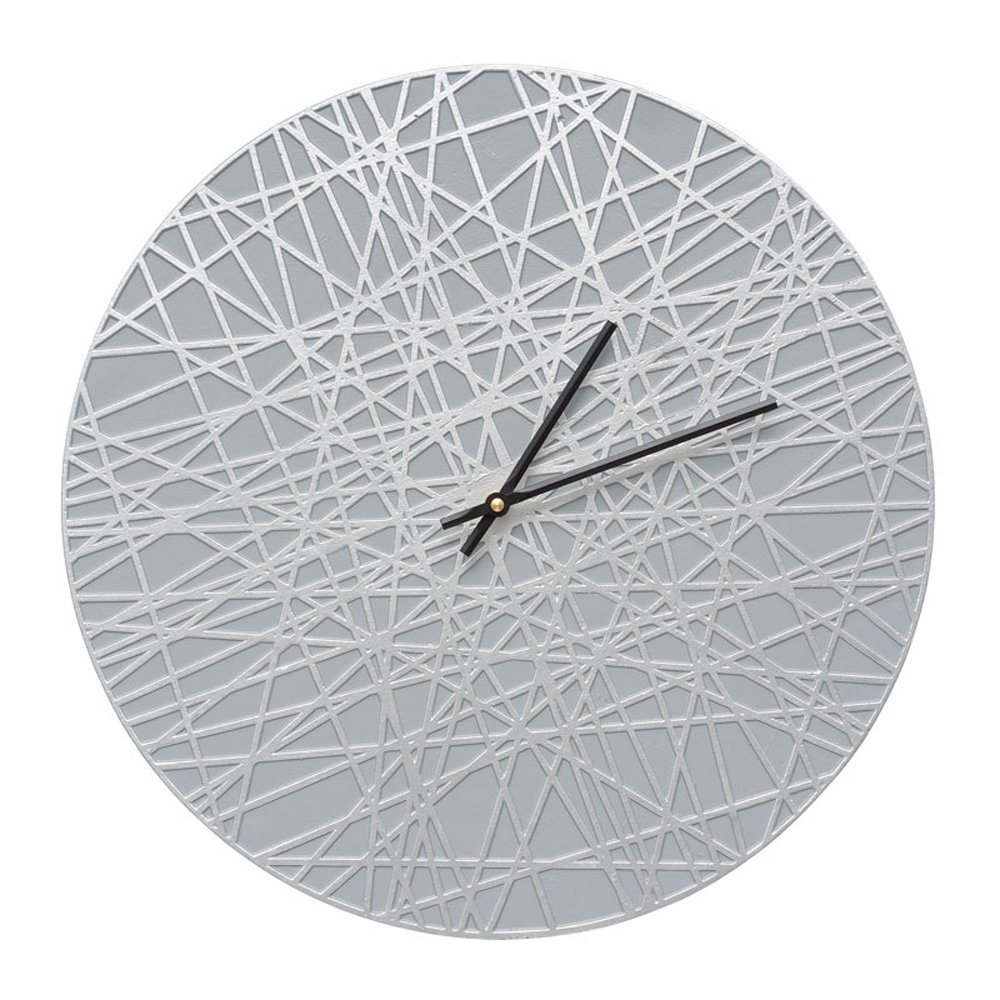 Whitehall 16'' Banded Clock Grey/Silver - 02177