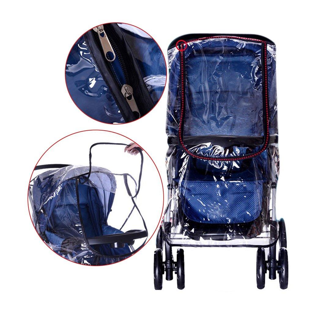 Universel Habillage Pluie Repliant Rain Cover Stroller Imperméable WindCover Bébé Raincover Protection Contre Vent et Pluie Transparent Couvertures Anti-UV Epaissir pour Poussette Landau Greenery