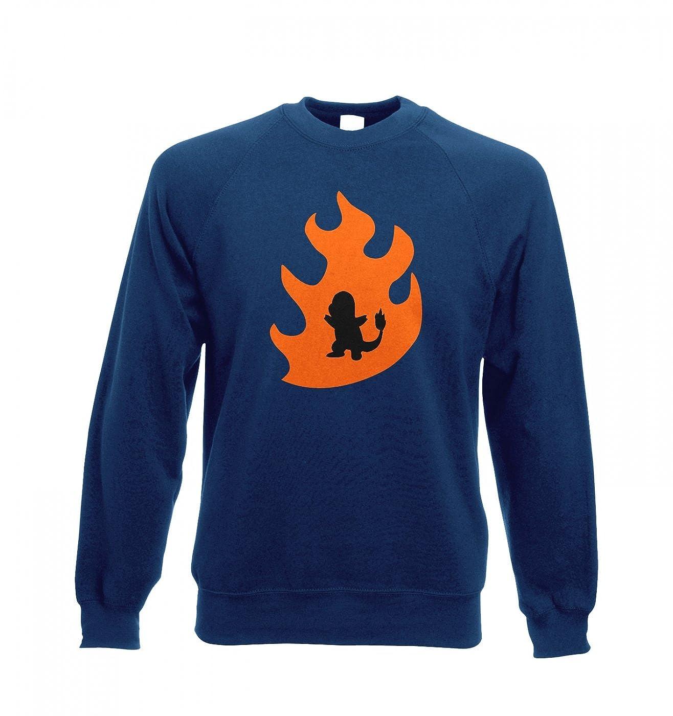d33b7ee7 Orange Charmander Silhouette Adult Crewneck Sweatshirt - Inspired By Pokemon  (Small (40