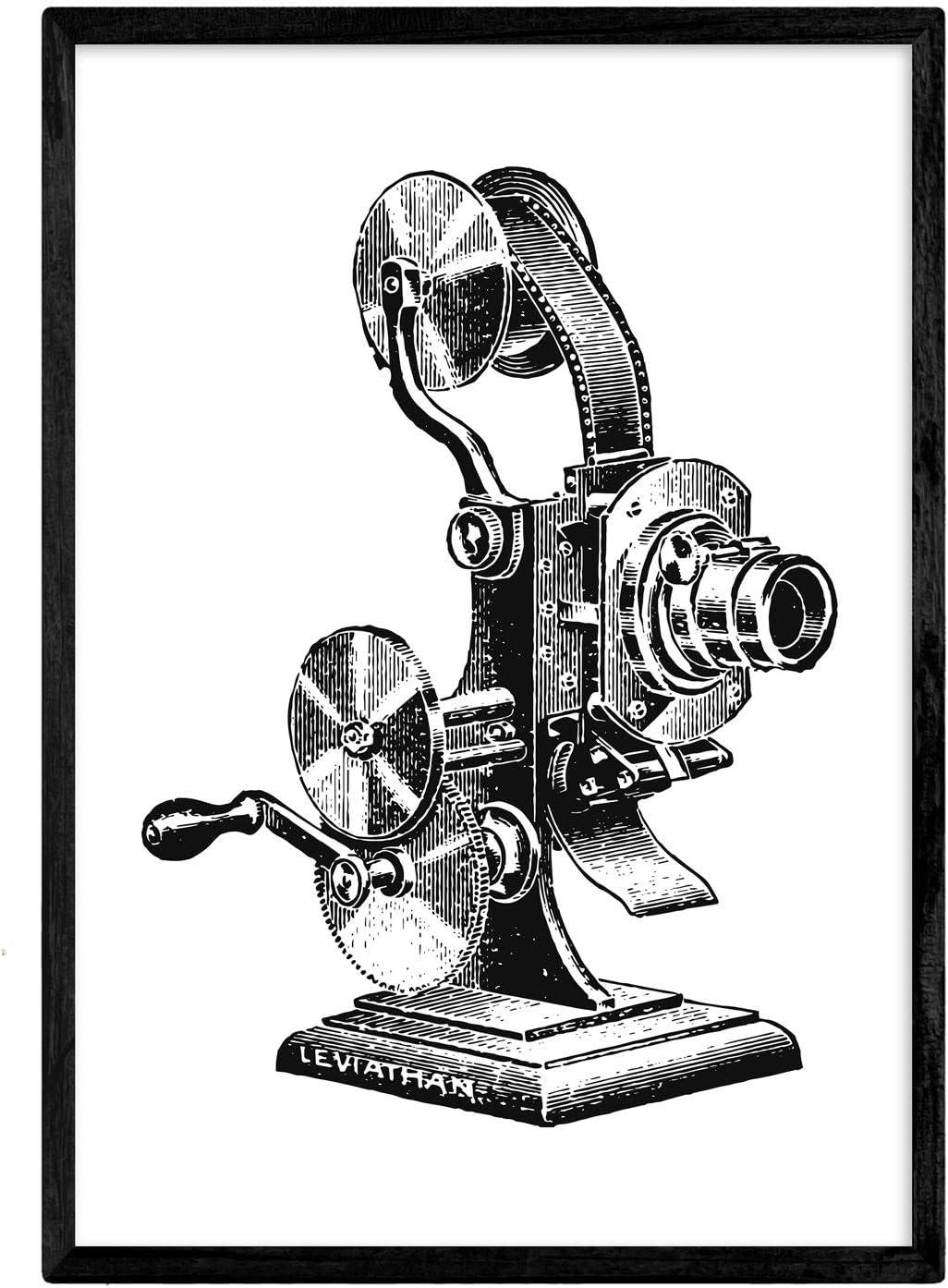 Nacnic Lámina de Antiguo proyector. Posters con objetos vintage. Tamaño A4