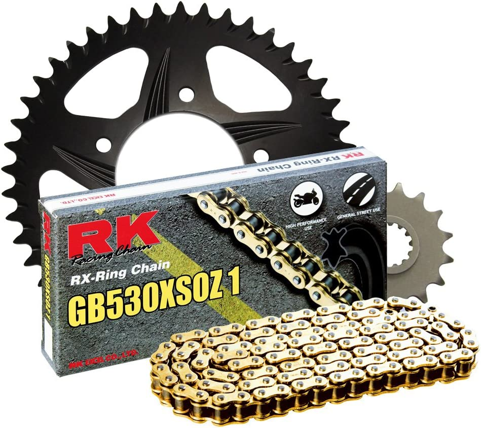 RK Racing Chain 3106-074AK Black Aluminum Rear Sprocket and GB530XSOZ1 Chain OE Replacement Kit