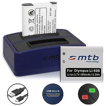 2X Batería + Cargador Doble (USB) para LI-90B LI-92B / Olympus Tough TG-Tracker/SH-1, 2… / XZ-2 / TG-1 TG-5 - Contiene Cable Micro USB