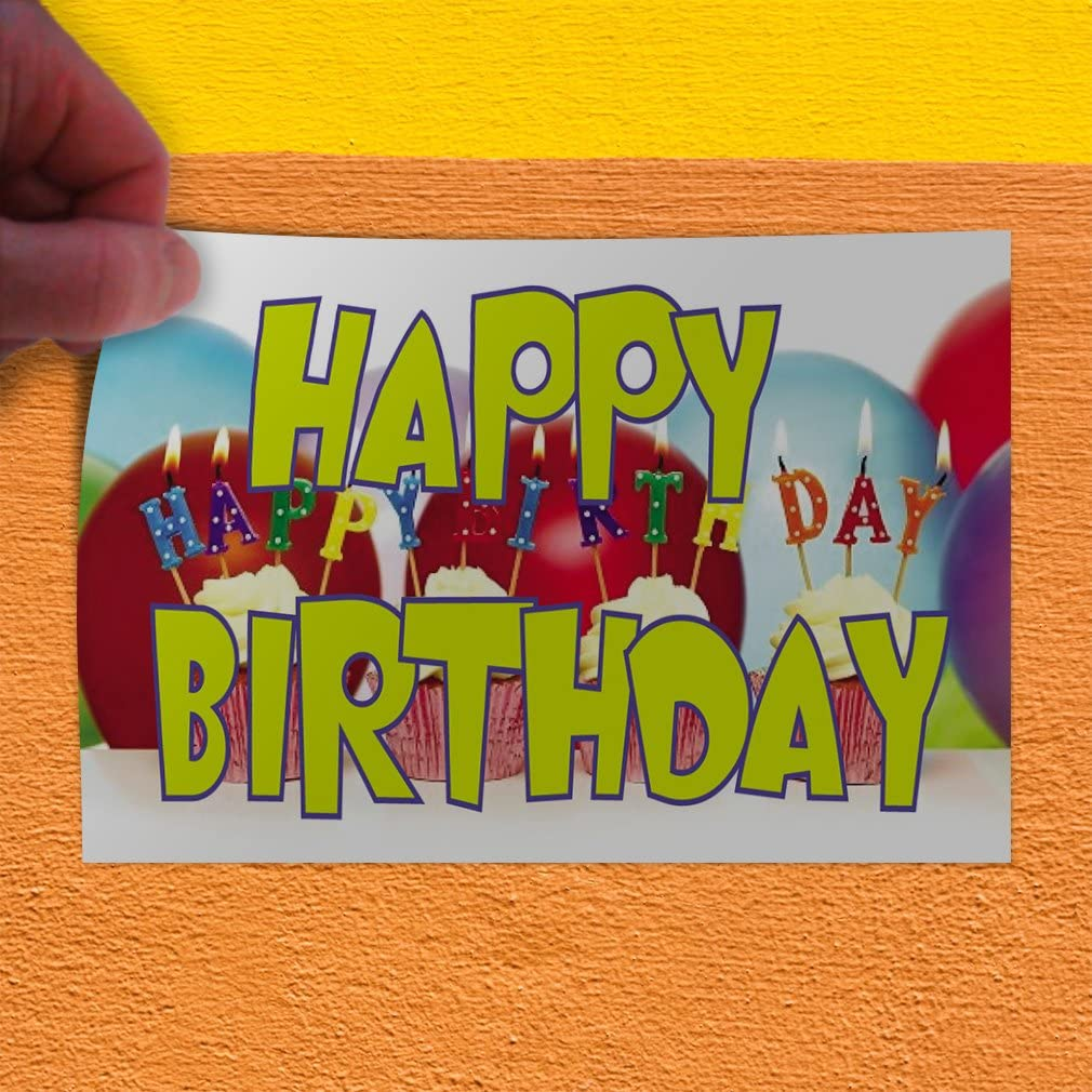 69inx46in One Sticker Decal Sticker Multiple Sizes Happy Birthday #1 Style D Lifestyle Birthday Outdoor Store Sign White