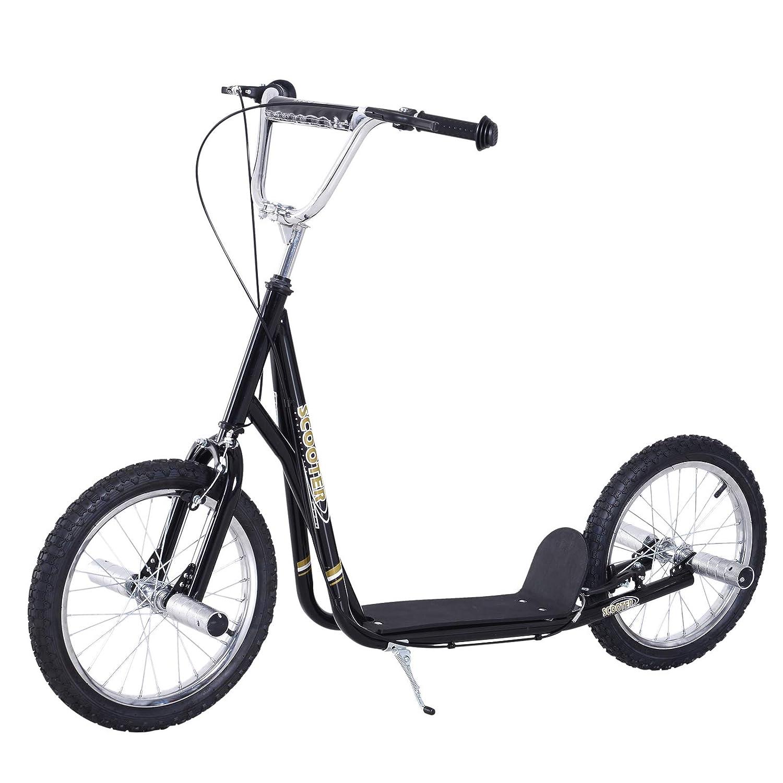 HOMCOM Patinete Scooter 2 Ruedas16 pulgadas 4 PEGS Estribos Freno Caballete Color Negro: Amazon.es: Deportes y aire libre