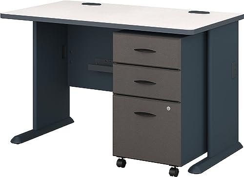 Bush Business Furniture Series A Desk with Mobile File Cabinet, 48 , Slate