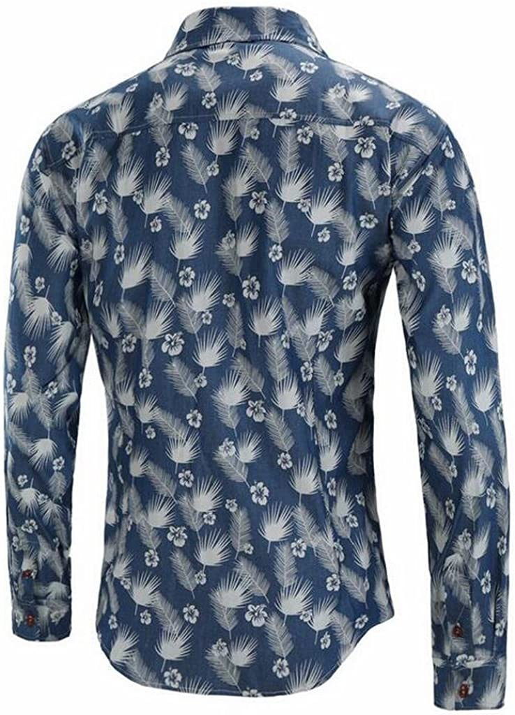 FSSE Mens Long Sleeve Casual Business Feather Printed Slim Button up Dress Shirt