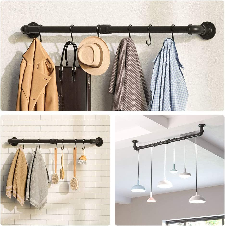 Plant Black 1 Pack Cookware Greenstell 37 inch Pot and Pan Rack Wall Mounted Kitchen Pot Lids Utensils Organizer Hanging Rail with 14 Detachable S Hooks Ideal for Pans Utensils