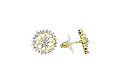 Rajasthan Gems Womens Ear Tops Studs Earrings Yellow Gold Plated Zircon Stones Round Design