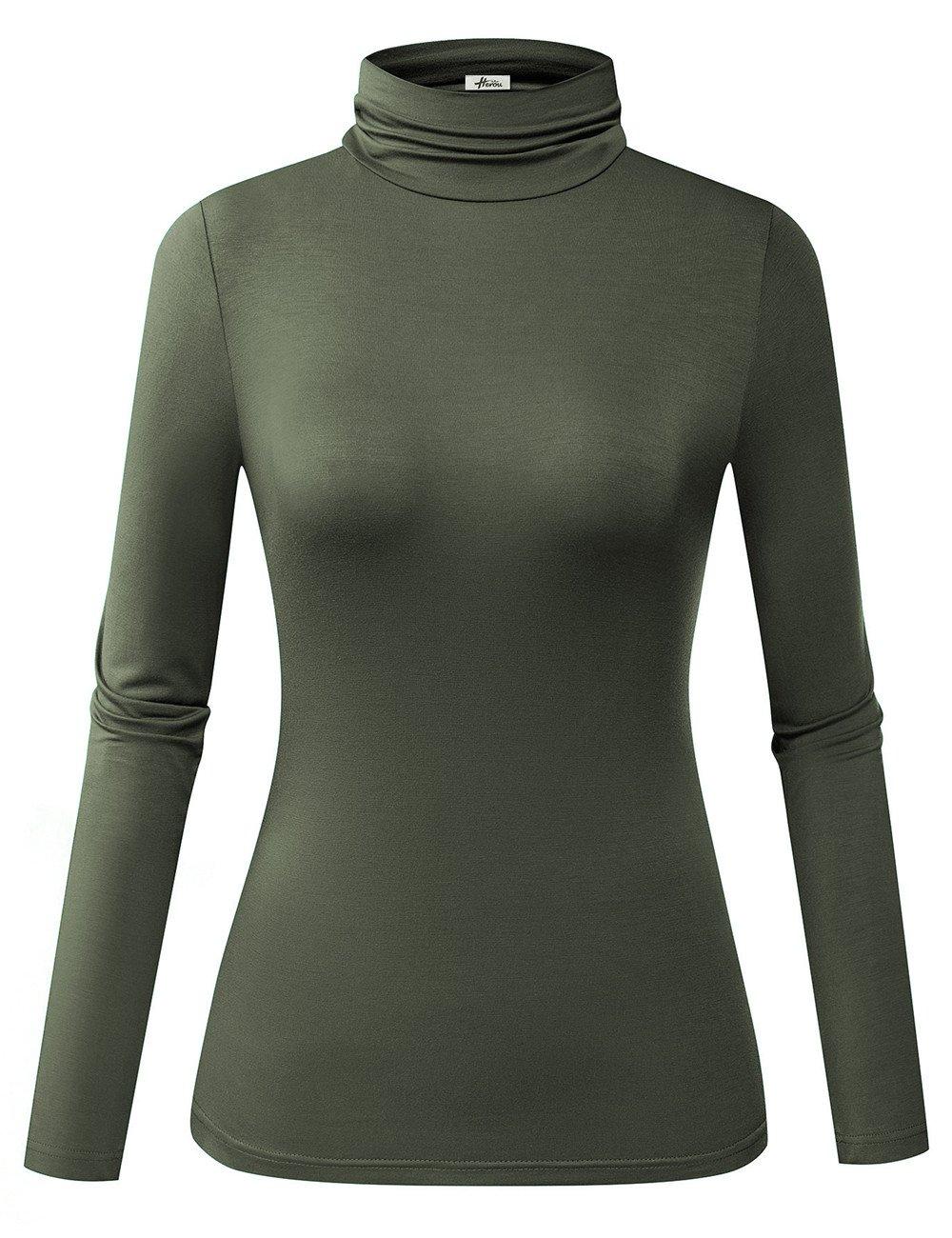 Herou Women Modal Lightweight Long Sleeve Turtleneck Top (Army, Large)