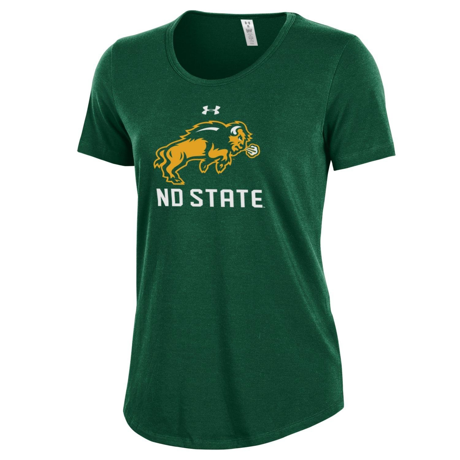 Small Under Armour NCAA North Dakota State Womens Short Sleeve Charged Cotton Tee Dark Green
