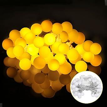 Hochwertig LED Lichterkette Mit Batterie 5M 40er, Globe Lichterkette Warmweiß,  Lichterkette Glühbirnen Mit 8Modi Und
