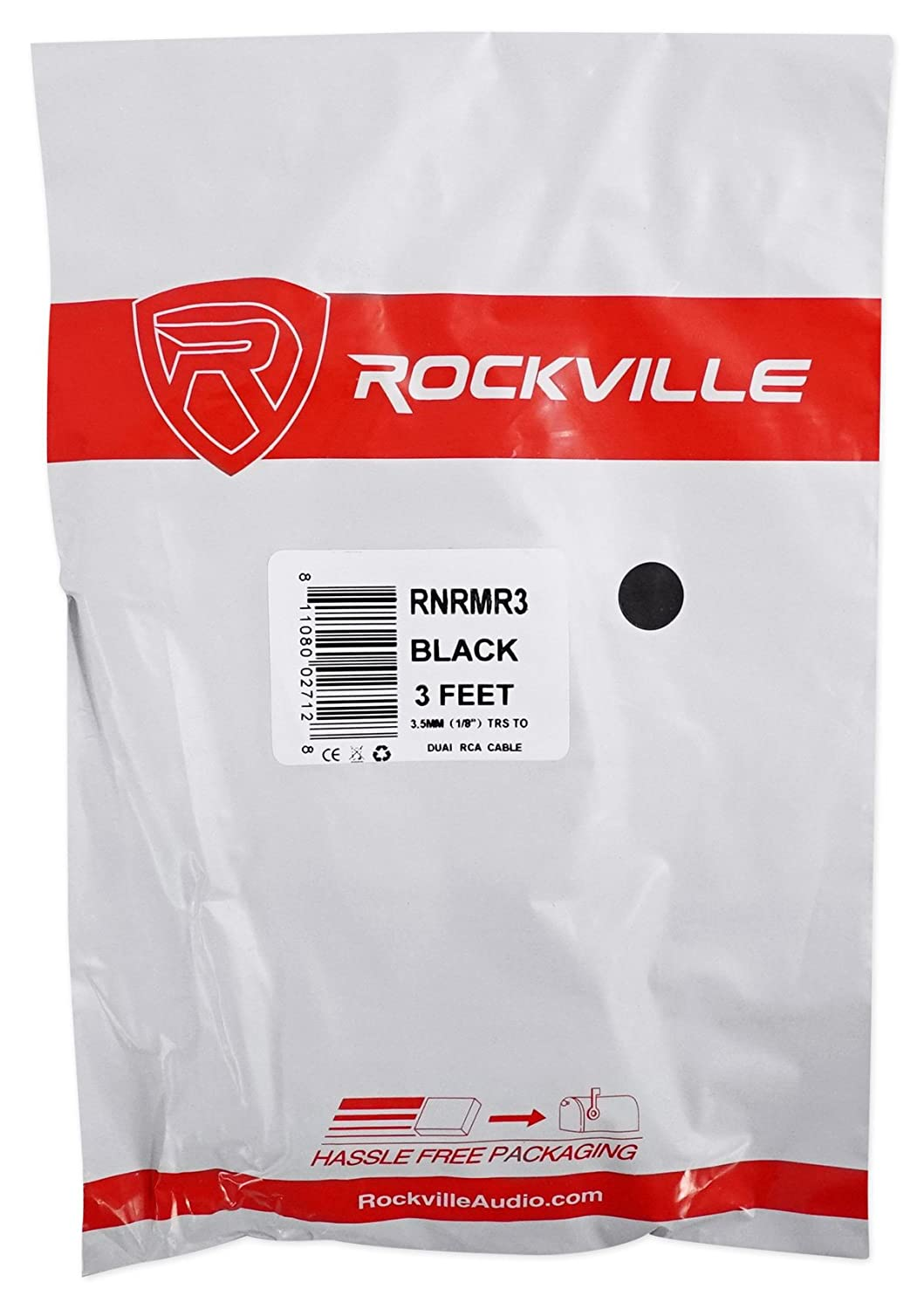 10 Foot Rockville RNRMR10 10 3.5mm 1//8 Inches TRS to Dual RCA Cable 100/% Copper