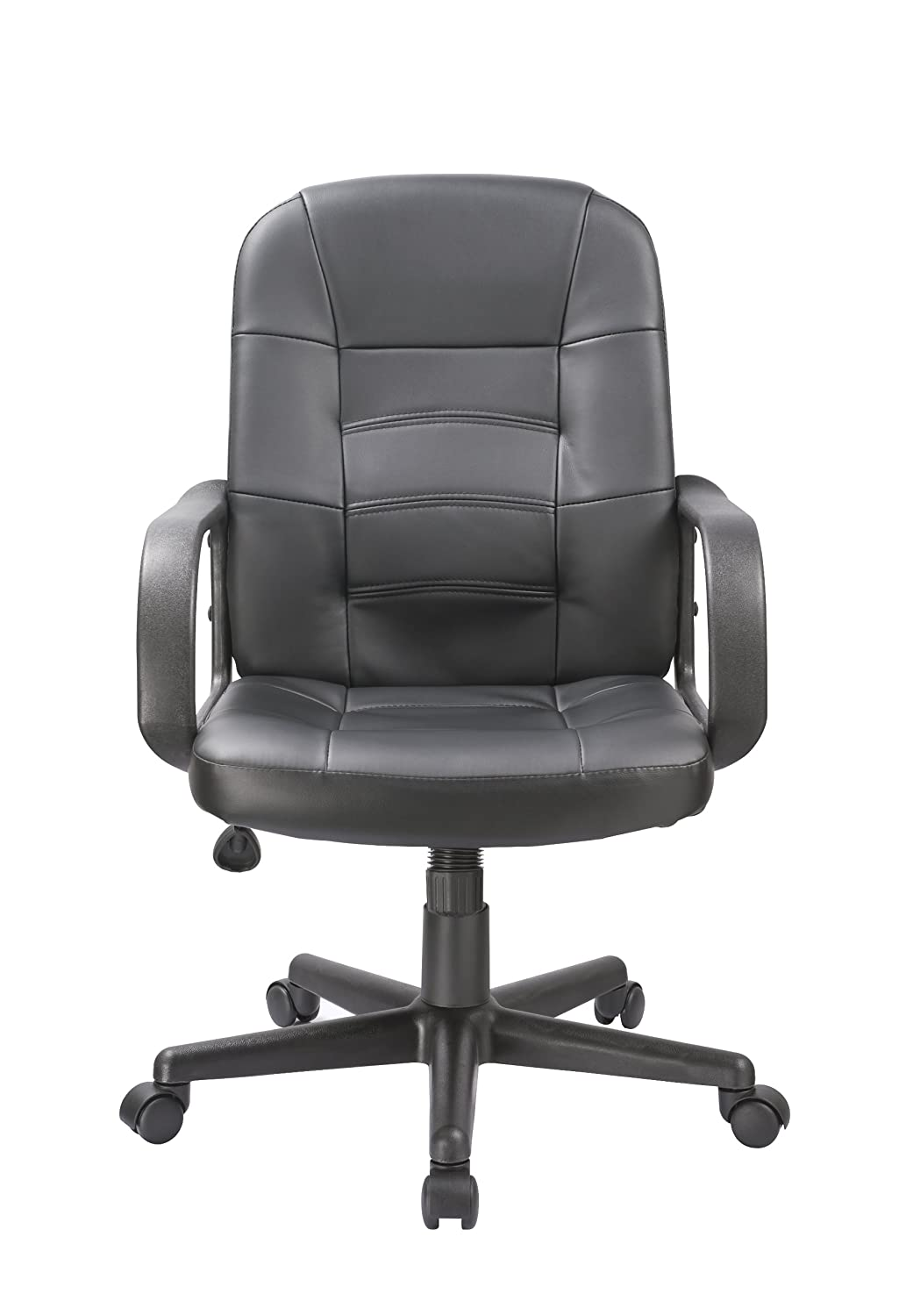 OFFICE FACTOR Bonded Leather Black Office Chair, Desk Chair, Ergonomic Office Chair, Swivel Office Chair with Caster Wheels