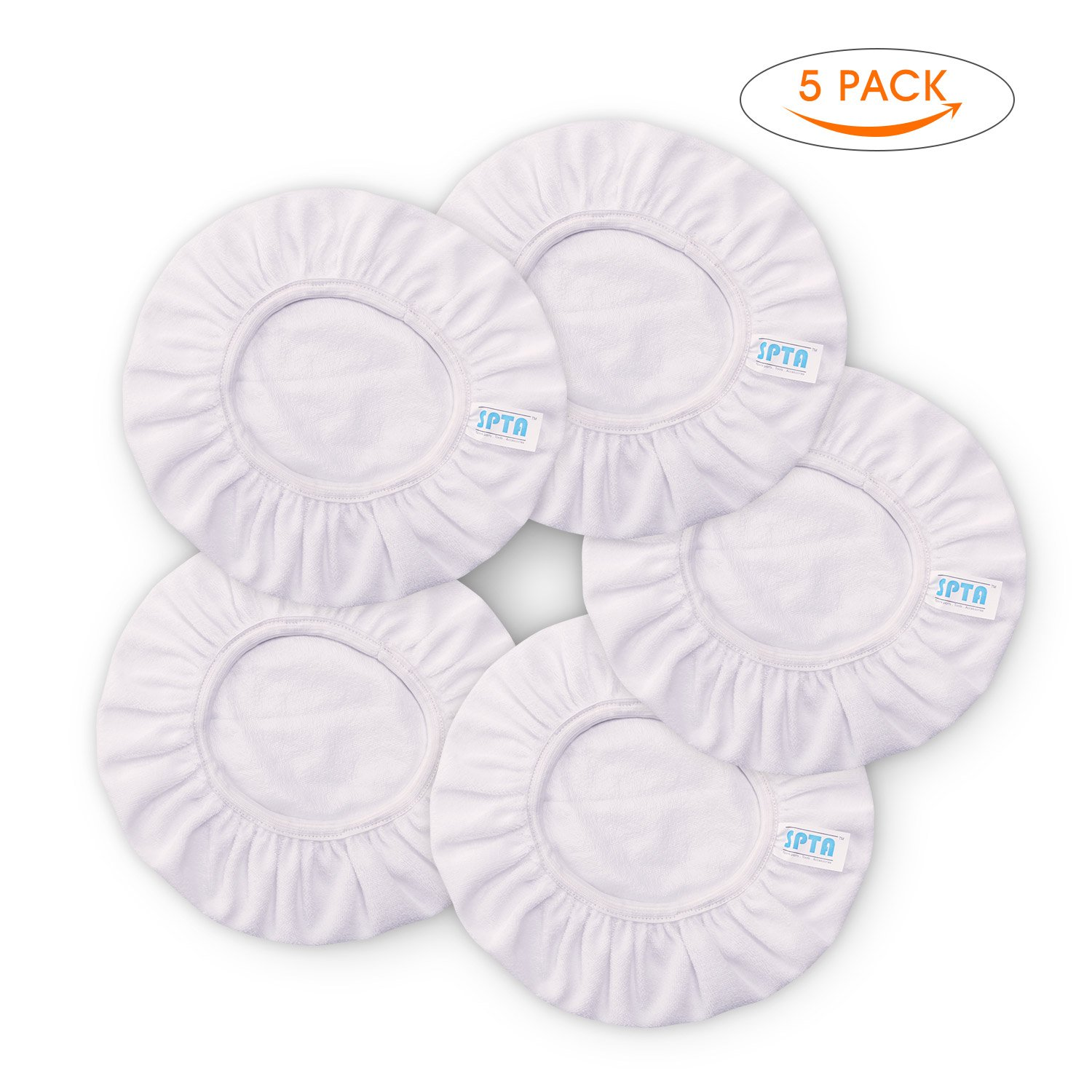 SPTA White Car Polisher Pad Bonnet Terry Cloth Pads Waxer/polishing Cover For 9'' And 10'' Car Polisher Pack of 5Pcs