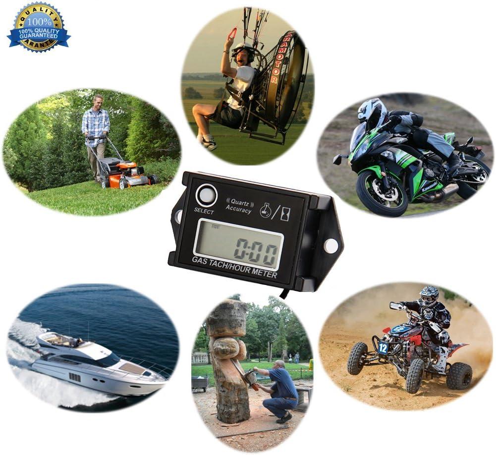 /Inductive Tachometer Digital Hour Meter RPM Counter Resettable Hour Meters for Snowmobile Skis Motor Bike Go Kart Lawn Mower Boat