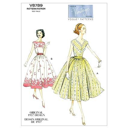 Vogue Patterns V8789 - Patrones de costura para vestidos con fajín de mujer (tallas 42