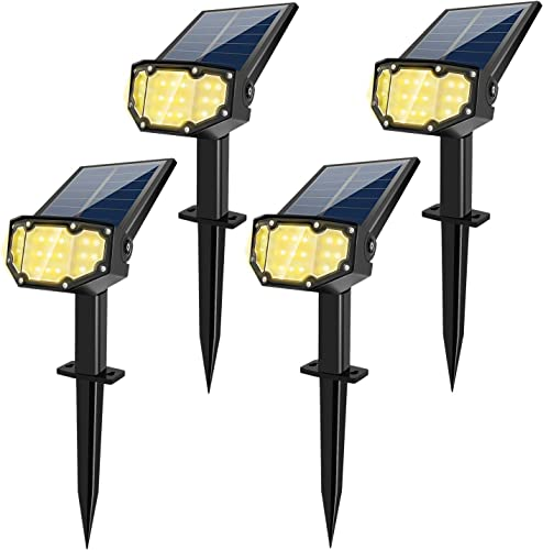 Solar Spotlight Outdoor Landscape Light 19 LED Waterproof with Adjustable Solar Panel and Adjustable Head Bright Warm Light 2-in-1 Powered Wall Light for Yard Walkway Driveway Garden 4 Pack