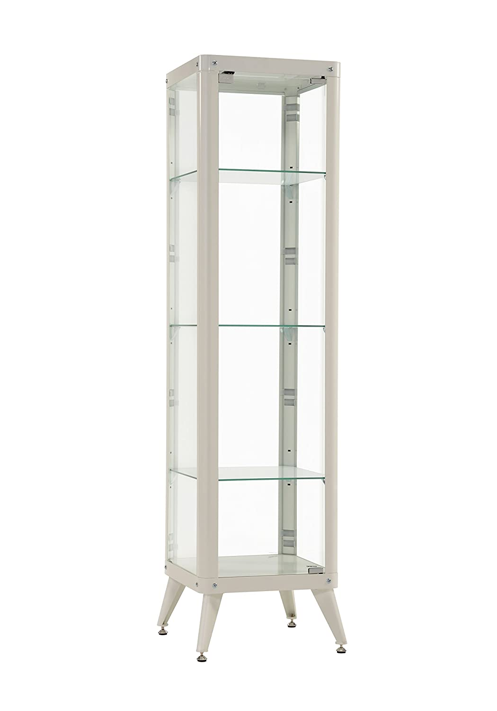 Furniture 247 Tall Glass Metal Framed Cabinet (with 3 Glass Shelves) - Black SourcebyNet 60321098 Black