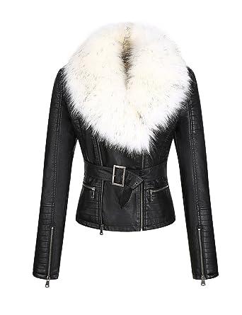 ad3d23b5b4 Amazon.com  Bellivera Women s Faux Leather Short Jacket