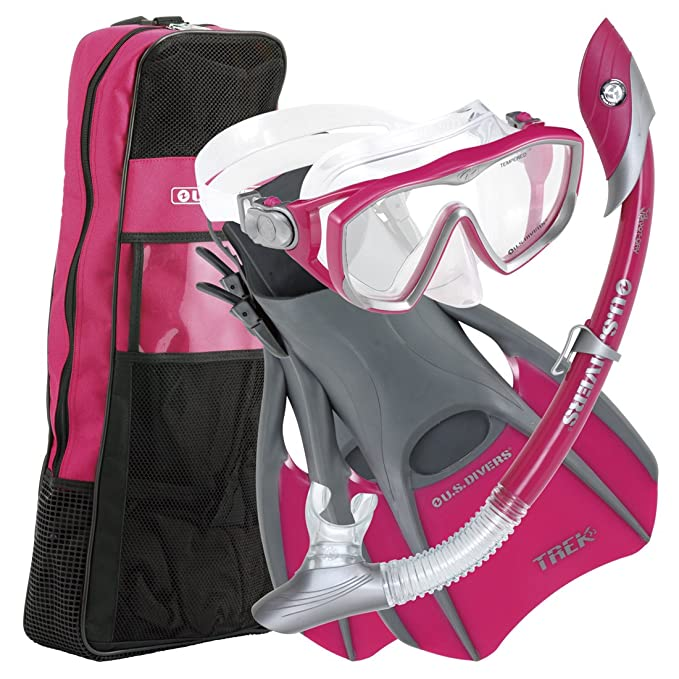 U.S.Divers Diva 1 LX/Island Dry LX Snorkel with Trek/Travel Bag, Raspberry, M... best snorkel mask