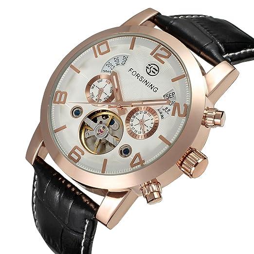 forsining reloj tourbillon de cuero marca muñeca automático para hombre fsg165 m3g1: Amazon.es: Relojes