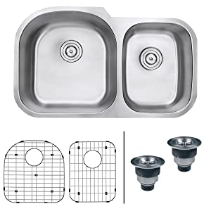 Ruvati 34-inch Undermount 60/40 Double Bowl 16 Gauge Stainless Steel Kitchen Sink