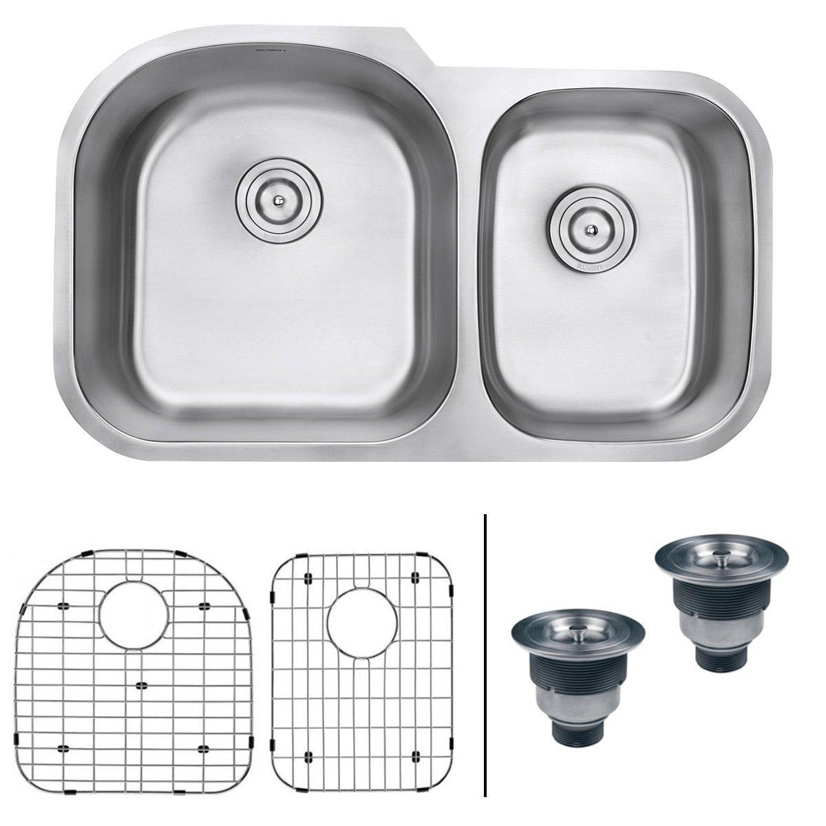 Ruvati 34-inch Undermount 60/40 Double Bowl 16 Gauge Stainless Steel Kitchen Sink - RVM4600