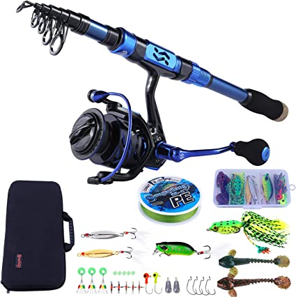 Amazon Com Sougayilang Fishing Rod And Reel Combos Carbon Fiber Telescopic Fishing Pole Spinning Reel 12 1 Bb With Carrying Case For Saltwater And Freshwater Fishing Gear Kit Sports Outdoors