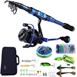 Sougayilang Fishing Rod and Reel Combos - Carbon Fiber Telescopic Fishing Pole - Spinning Reel 12 +1 BB with Carrying…