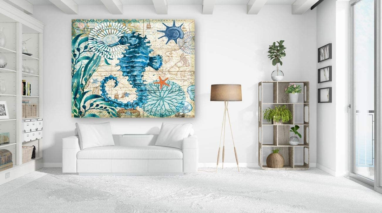 KaiSha Tapestry With Rod Pockets - Beach Home Bohemian Tapestry Wall Hanging for Bedroom, Living Room and Dorm, Aqua Blue Ocean Animal Lover Tapestries, Underwater Nature and Coral World Teal Turquoise Wall Decor 79x59 inches (Marine Life Seahorse)