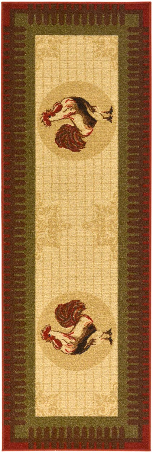 Rooster Design Machine-Washable Non-Slip Runner Rug