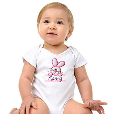 Funny Girl Designs Personalized Embroidered Easter Bunny Baby Girls