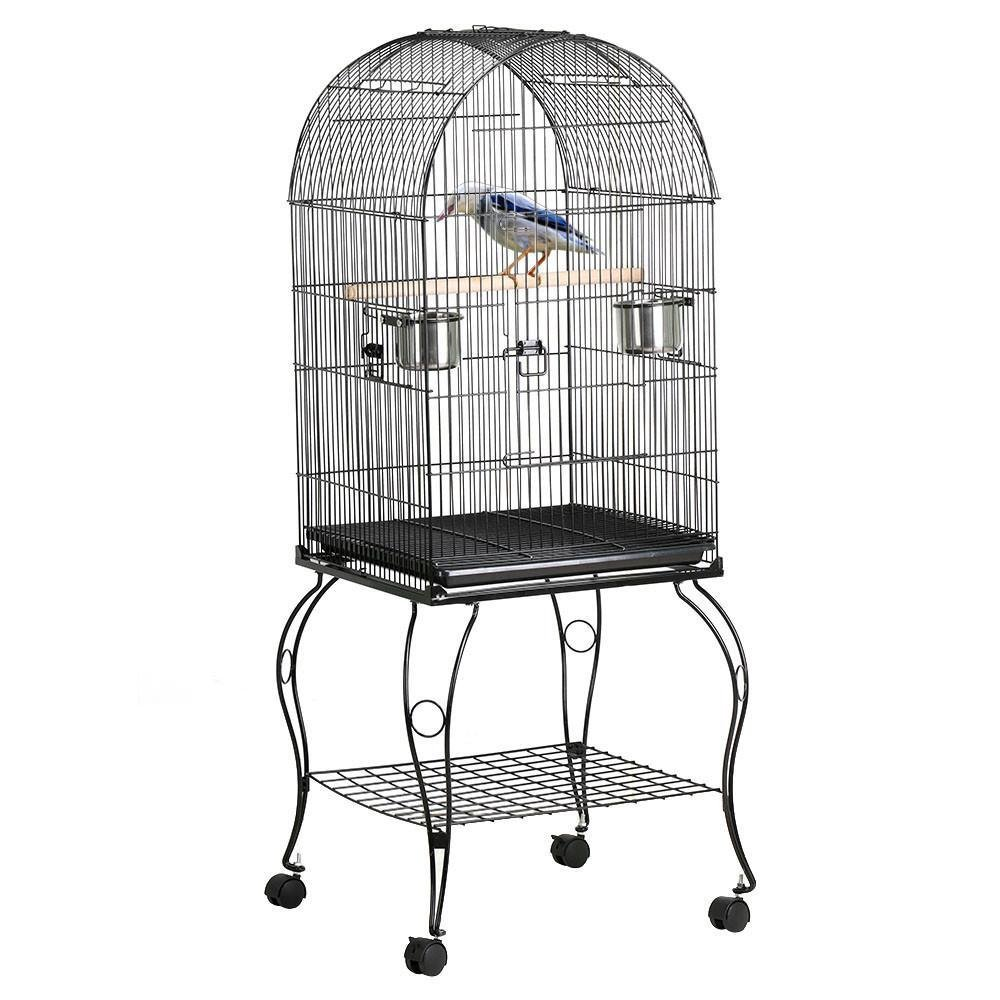 Yaheetech 59'' Rolling Large Metal Bird Cage Open Playtop with Stand Perch for Parrot Cockatiel Canary Finch Aviary Pet House Supplies