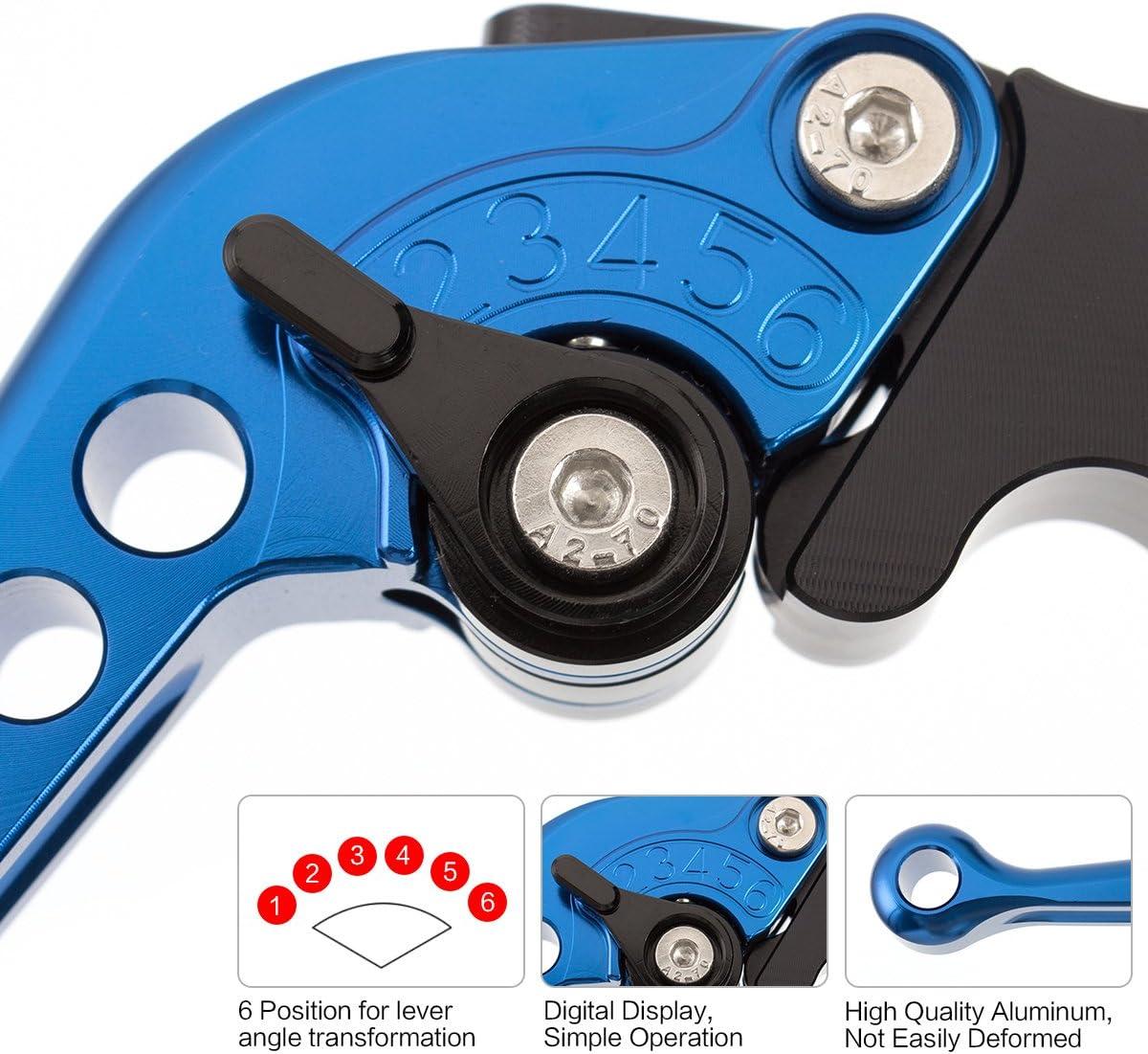 color tree Blue CNC 6 Position Shorty Brake Clutch Lever for SUZUKI SV650//S 1999 2000 2001 2002 2003 2004 2005 2006 2007 2008 2009 2010