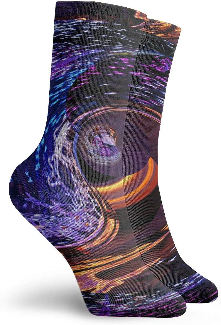 WEEDKEYCAT Blue Purple Circle Spiral Space Adult Short Socks Cotton Funny Socks for Mens Womens Yoga Hiking Cycling Running Soccer Sports