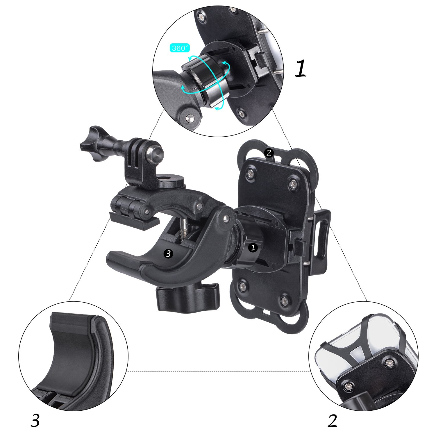 YELIN Bike Phone Mount Motorcycle Phone Holder Bike Camera Mount 2 in 1 Bicycle Holder Handlebar Clamp for Gopro Action Cam iPhone X 8 7 7 Plus 7s 6s Samsung Phone by YELIN (Image #3)