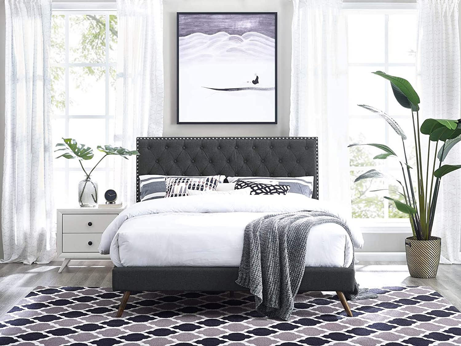 Modway Helena Tufted Button Linen Fabric Upholstered Twin Headboard in Gray