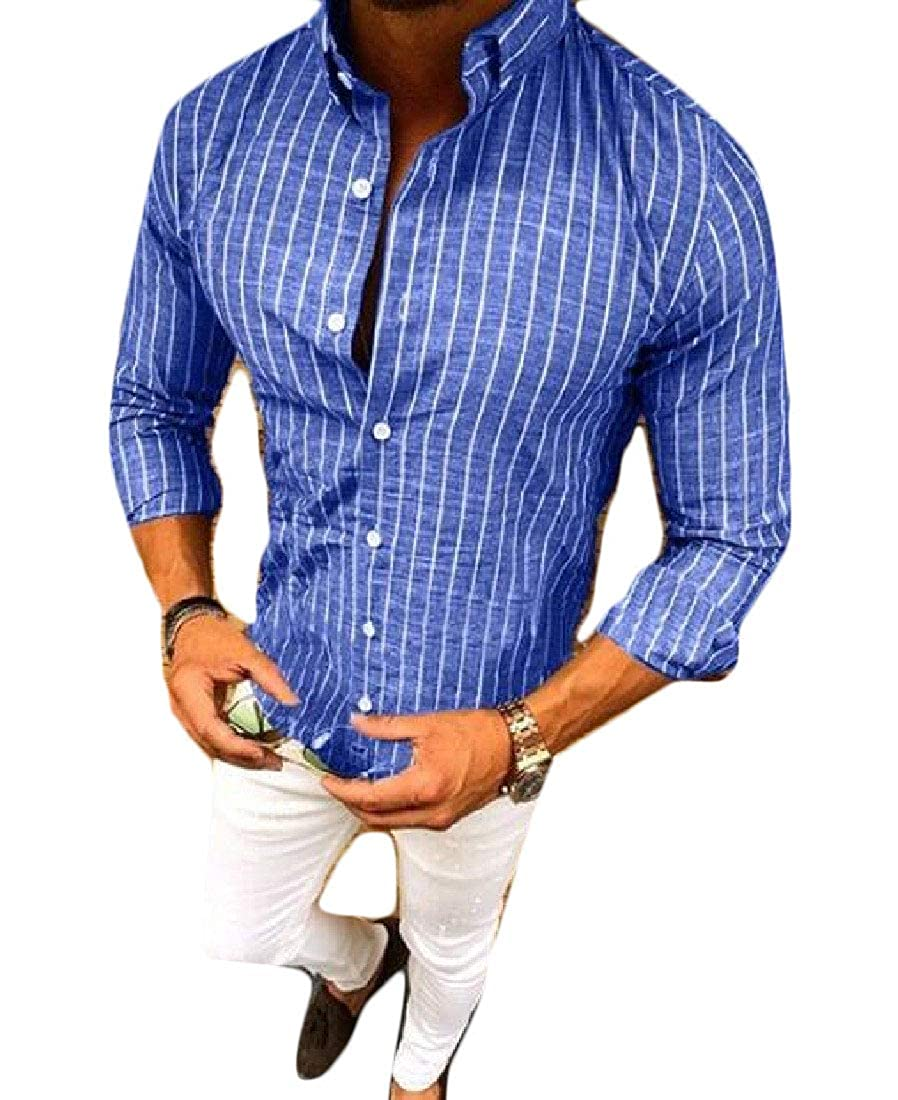 Frieed Mens Loose Striped Long Sleeve Basic Button Up Shirts
