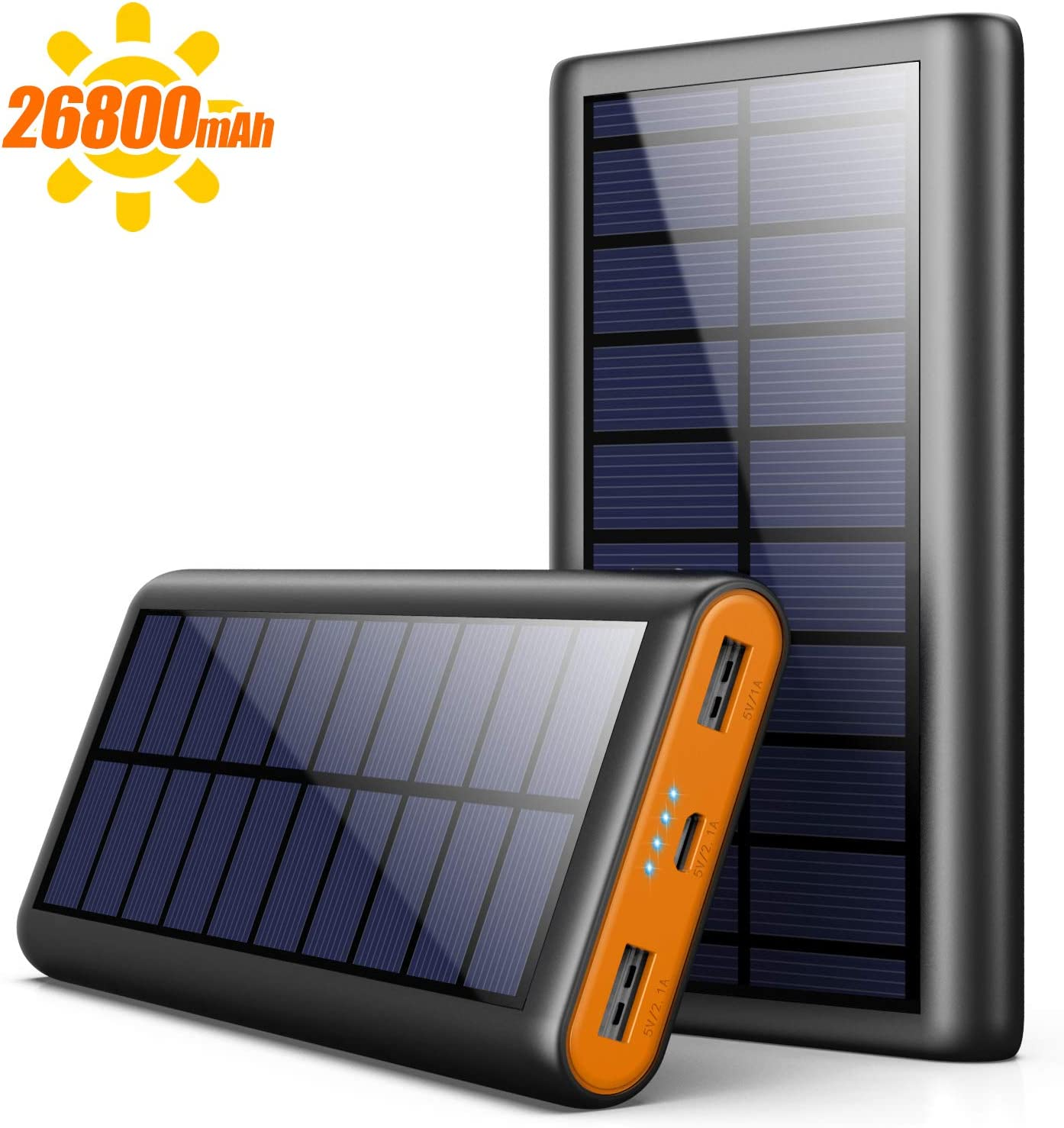 AOPAWA Cargador Solar 26800mAh Batería Externa Portátil, [Versión Ecológica] Power Bank Solar Gran Capacidad con 2 Puertos Batería de Respaldo para Teléfono móvil, Tableta