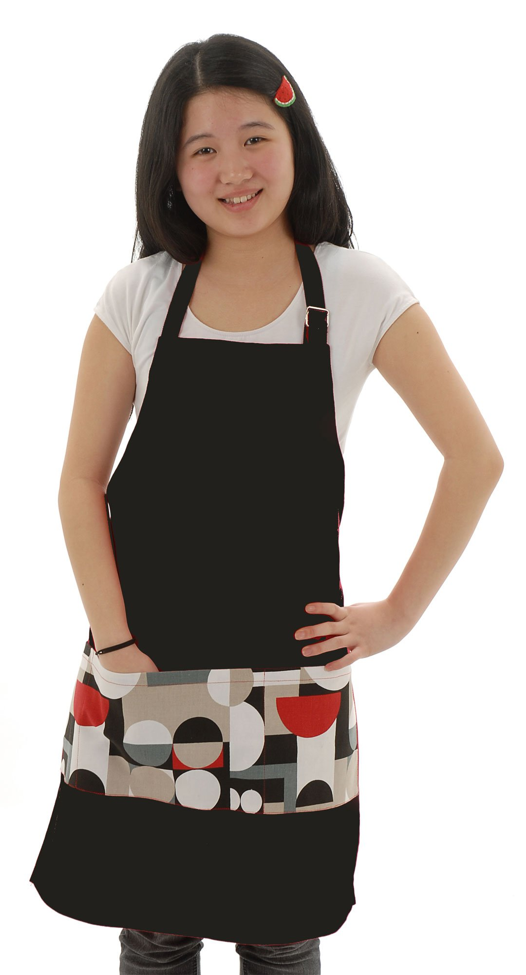 Twinklebelle Adult Cotton Pocket Apron for Cooking, Gardening, Crafting (Funky dots on Black) by Twinklebelle (Image #1)