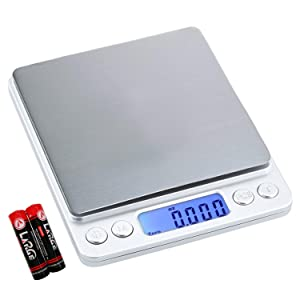 Digital Kitchen Scale Multifunction Food Scale, 500g/0.01g Small Portable Electronic Precision Scale, Food Scale with Back-Lit LCD Display(Batteries Included)