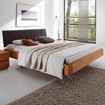 Pharao24 Schlafzimmer Bett aus Eiche Massivholz Polsterkopfteil in ...