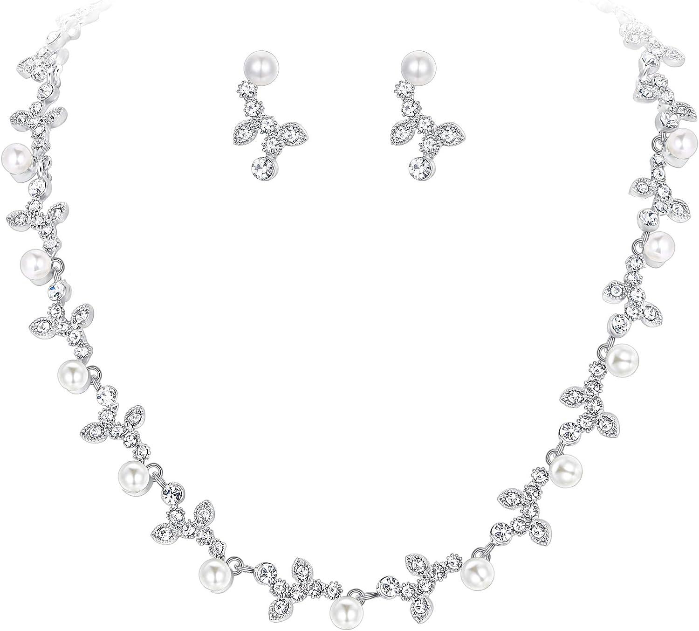 Ever Faith Femme Cristal Autrichien Mariage mari/é Feuille Forme V Collier+Boucles doreilles Parures