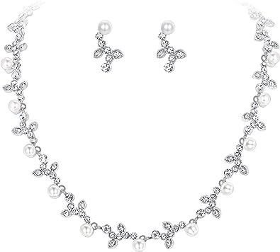 TENYE Femme Cristal Autrichien Perle Artificielle Mari/é Fleur Collier+Boucles dOreilles Parures Clair Ton dargent