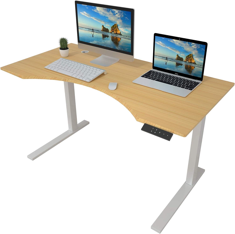 "ZHU CHUANG Height Adjustable Desk Electric Standing Desk Stand up Desk Home Office Desk Dual Motor Natural Color 100% Solid Bamboo (72"" Contour, Desktop and Frame)"