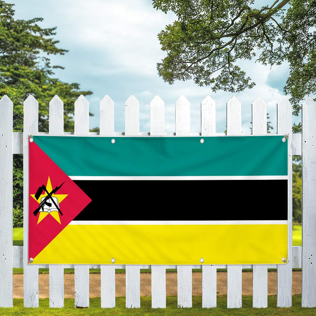 One Banner 8 Grommets Vinyl Banner Sign Mozambique Flag Red Green Black Yellow Marketing Advertising Red Multiple Sizes Available 44inx110in