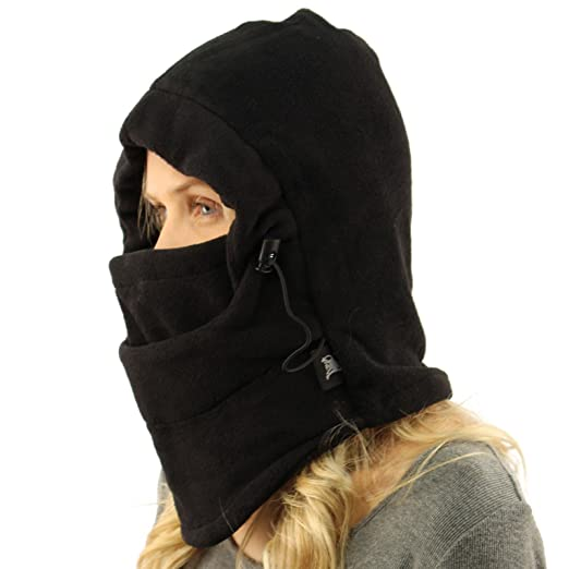 Winter Unisex Polar Fleece Ski Snow Hoodie Balaclava Face Mask Neckwarmer  Black 59414f418